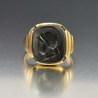 Bold Art Deco Mens Gold Hematite Ring