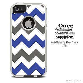 The Gray & Blue Chevron Skin For The iPhone 4-4s or 5-5s Otterbox Commuter Case
