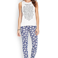 FOREVER 21 Painted Floral Leggings Blue/Cream
