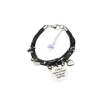 Genuine Leather Bracelet made with Crystals from Swarovski - A Sister
