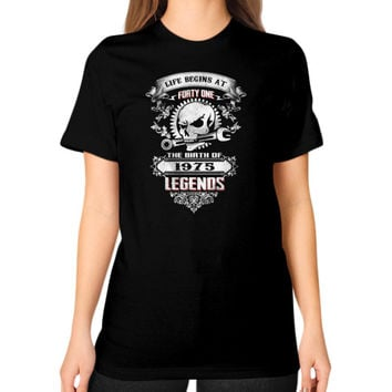 The birth of legends 1975 Unisex T-Shirt (on woman)
