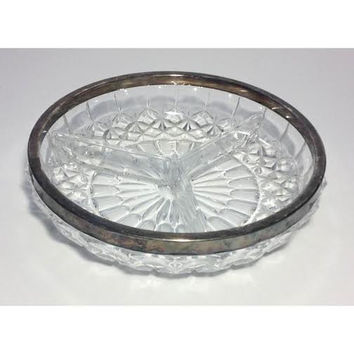 Vintage Glass Candy Dish, Trinket Bowl, Jewelry Tray, Clear Glass with Gold Trim Rim, Pressed Glass Mid Century Serving Bowl