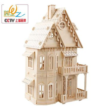 Free shipping Gothic House 3D Wooden puzzle, Kids wooden house puzzle toy, Toys for children, logico teaching AIDS. scale models