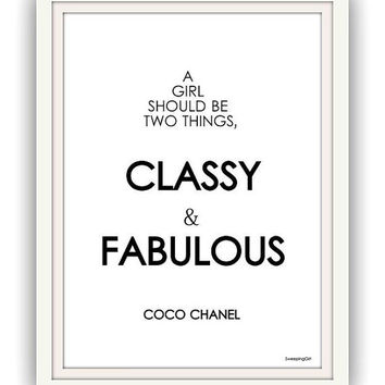 Coco Chanel ,Set Of four, fashion Quotes, Wall Art, decor, decal decals, print, girl room decors, posters, passion minimalist modern hanging