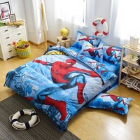 Hot Cotton Bedding Set 4pcs Cartoon Printing Spiderman Bedclothes Duvet Cover Bed Sheet Children Kids Comforter cover Bed Linen