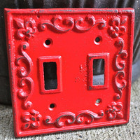 Double Light Switch Plate/ Bright Red/ Cast by AquaXpressions