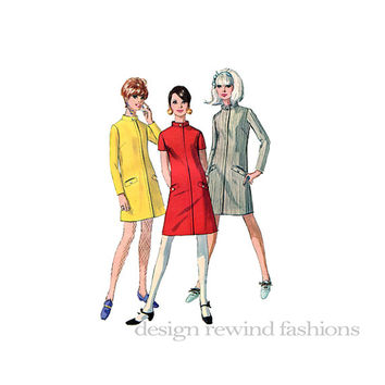 1960s SHIFT DRESS A-Line Short Long Sleeves Buttoned Stand-Up Collar Simplicity 7201 Juniors Misses Bust 31 Vintage Sewing Patterns Twiggy