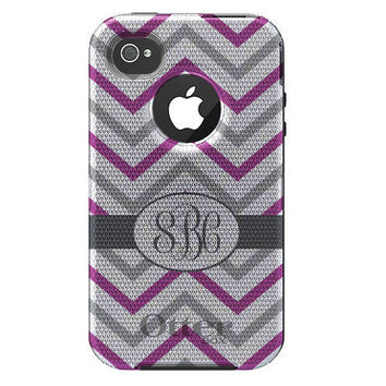 Custom Black OtterBox Defender Case - Apple iPhone 4 4S - Grey Pink Purple White Chevron Zig Zag, Inititals Oval
