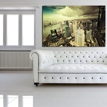 "Canvas Print Artwork Stretched Gallery Wrapped Wall Art Painting New York City Town America Large Size 28x42"" (can9)"