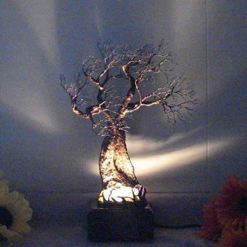 Wire Tree sculpture, Tree Of Life Spirits, clear Quartz Crystal gemstone lamp, handmade metal mineral tree art, home decor unique gift idea