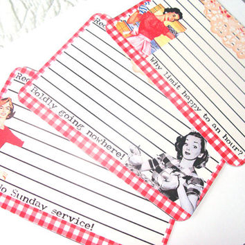 Retro Recipe Cards  , Set of 12  , Mid Century Style , Vintage Homemakers , Witty Sayings  , Red Gingham Cards