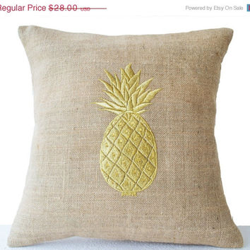 Burlap Pillow Covers with Pineapple Embroidered- Gold Pillows- Pineapple Pillows-18x18 - Modern Decor- Chair Pillow- Couch Pillows- Cushions