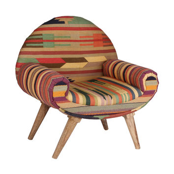 Thar Desert Arm Chair in Vintage Kilim