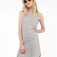 Striped Curve Hem Dress - Small