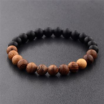 YIZIZAI New Natural 8mm Wood Beads Bracelets Men Black Ethinc Meditation White Bracelet Women Prayer Yoga Jewelry