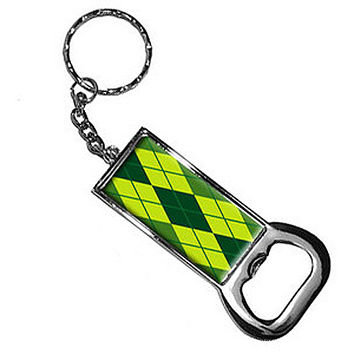 Argyle Hipster Green Bottle Opener Keychain