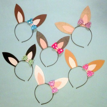 1 headband bunny rabbit ears with pink red bow or zebra bow headband birthday party Easter