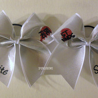Best Friends be fri st ends with Names Silver Cheer Bow Hair Bow Set Cheerleading