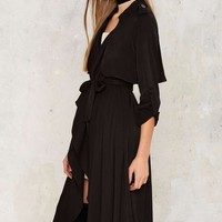 Line & Dot Drape Middleton Trenchcoat - Black