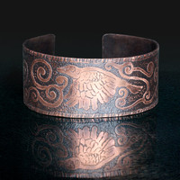 Raven song etched copper cuff, Antiqued copper bracelet, Raven jewellery, Etched jewellery, Wide cuff, Europeanstreetteam