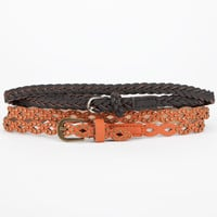 2 Pack Braid Stud Belt Black  In Sizes