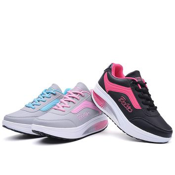 Winter cheap running shoes women Lightweight wedge Platform Walking sport shoes Woman Fitness Swing rocking shoes sneakers