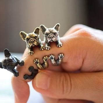 French bulldog Ring for women