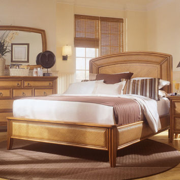 American Drew Antigua California King Low Profile Bed in Toasted Almond