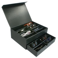 Edge I-Wear Sunglasses Jewelry Watch Display Box, Carbon Fiber Design-Holds 16, D-12ACFBLK-16