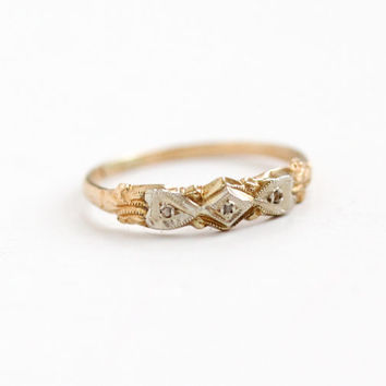 Vintage 10k Yellow & White Gold Diamond Wedding Band Ring - Art Deco 1930s 1940s Size 5 Fine Engagement Bridal Jewelry