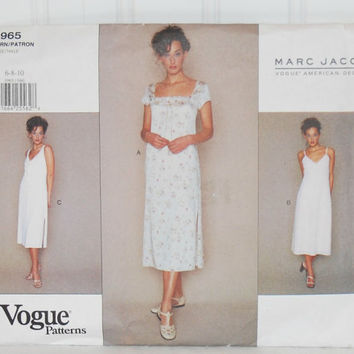 Vogue Patterns 1965 Marc Jacobs Vogue American Designer, Misses'/Misses' Petite Dress Size 6, 8 and 10, Straight or A Line Dress, Summer