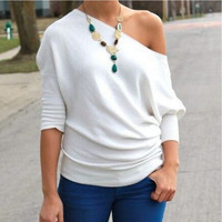 White One Shoulder Knitted T-Shirt