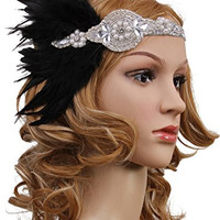 Vijiv Vintage Black Feather Silver 20s Headpiece 1920s Flapper Headband