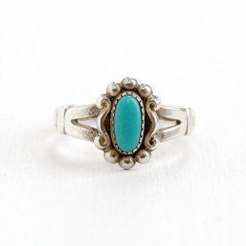 Vintage Sterling Silver Turquoise Blue Stone Ring - Size 6.5 Retro Southwestern Native American Style Jewelry Hallmarked Bell Trading Co.