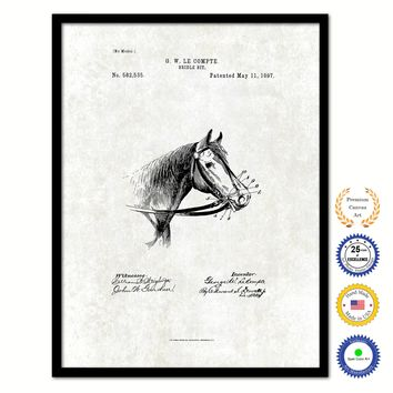 1897 Farming Horse Bridle Bit Vintage Patent Artwork Black Framed Canvas Print Home Office Decor Great for Farmer Milk Lover Cattle Rancher