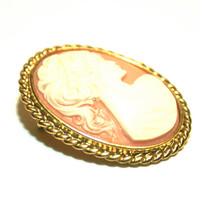 Pink and White Cameo Brooch Vintage Gold Tone