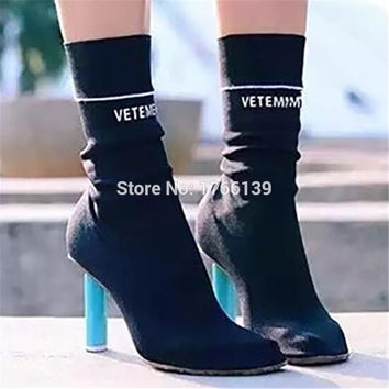 New Fashion Design Lighter Heel Stretch Booties Women Elastic Knit Sock Ankle Boots High Heels Women Pumps Shoes Woman