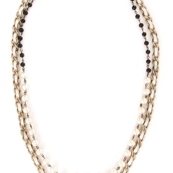 Chanel Vintage pearl embellished chain necklace