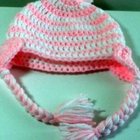Striped Heart Beanie With PomPom