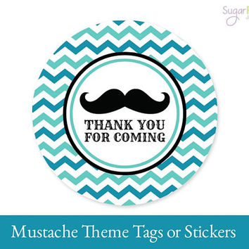 Mustache Tags, Mustache Favor Tags, Mustache Thank you tags, Mustache Printable tags, Mustache Party Decorations, Mustache Sticker Tags