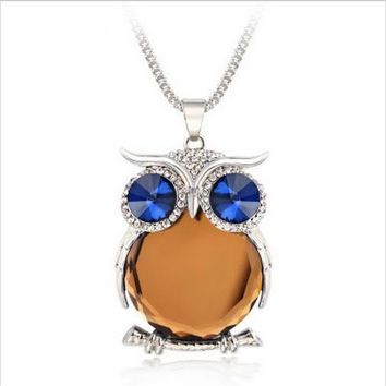 Owl Collection Silver and Swarovski Crystal Featuring BLUE Eyes Orange Belly