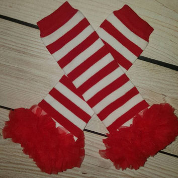 Christmas Red and White Striped Candy Cane Baby Leg Warmers with Red Chiffon Ruffles,Baby Leg Warmers, Holiday Leg Warmers, Leggings