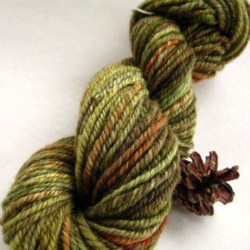 hand spun yarn, handspun yarn, hand dyed yarn, hand painted yarn, handpainted yarn, bfl bluefaced leicester wool, 3 ply, green, aran bulky