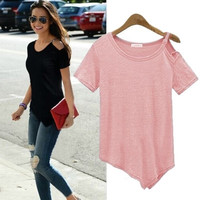 100% Cotton Off Shoulder T-Shirts Tee Summer Top +Necklace