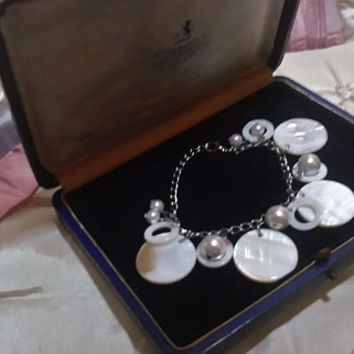Lusterous Mother of Pearl Discs Dangle and Drop MOP Circles and Freshwater Pearls Bridal Wedding Prom Charm Boho Bracelet Any Occasion