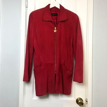 Donna Karan women's Red Suede Jacket sz S