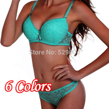 [6Colors]New 2015 cotton push up bra Absolute luxury lace sexy embroidered flowers underwear bra & bra brief sets 75-90 ABC Cup