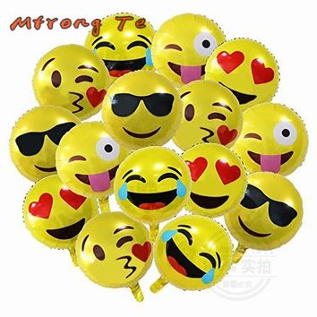 15pcs/lot 18 inch Emoji Foil Balloons cool love kiss naughty expression Helium Balloon Birthday Party Supplies Kids Gifts