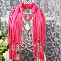 purity new arrival water-drop rhinestone pendant necklace scarf soft Unisex