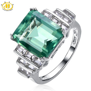 Hutang -Cocktail Ring- Natural Green Fluorite Solid 925 Sterling Silver Women's Rings Party Fine Jewelry
